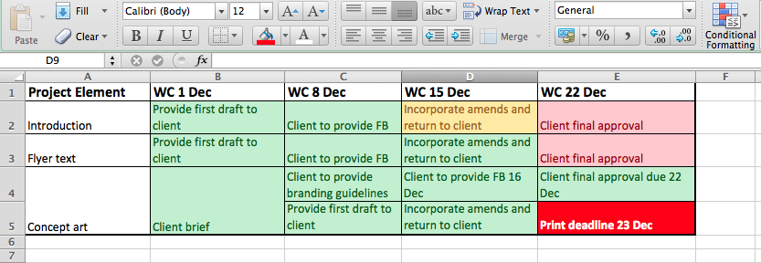 Shaping up excel sheet