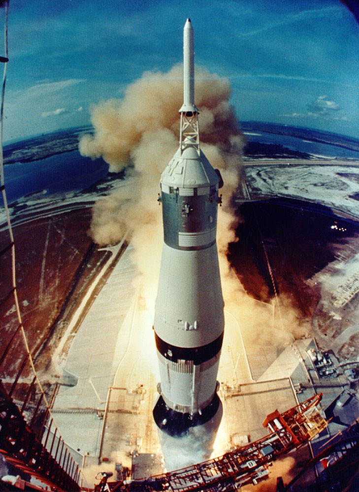 Saturn 5 lifts off, carrying Apollo 11 (July 16th, 1969).