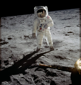 Apollo 11's Buzz Aldrin on the moon.